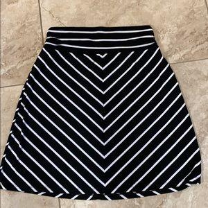 Striped Knee Length Skirt
